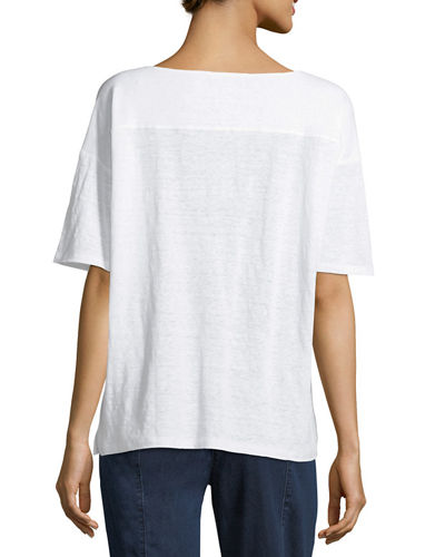 Organic Linen Jersey Short-Sleeve Top