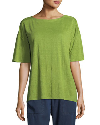 Eileen Fisher Organic Linen Jersey Short-Sleeve Top