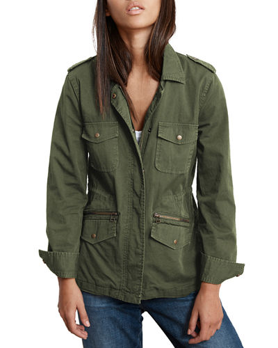 Military-Style Zip-Front Jacket