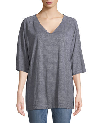 Eileen Fisher Half-Sleeve Striped Organic Linen Jersey Top