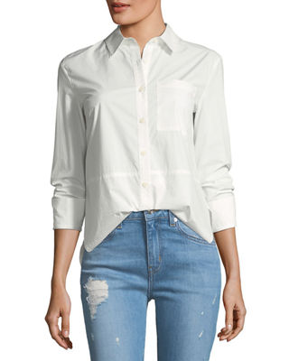 Derek Lam 10 Crosby Long-Sleeve Button-Front Cotton Shirt