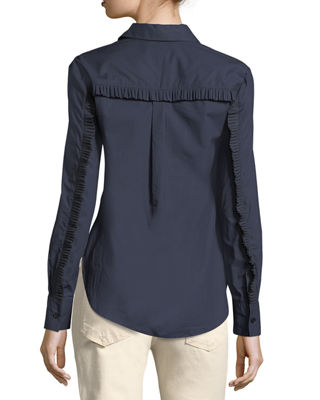 Image 2 of 4: Long-Sleeve Button-Front Cotton Shirt with Ruffle Detail