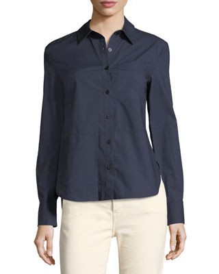 Image 1 of 4: Long-Sleeve Button-Front Cotton Shirt with Ruffle Detail