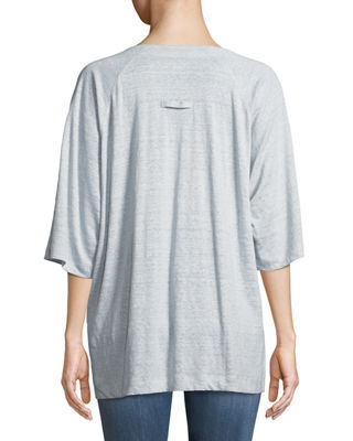 Image 2 of 2: Half-Sleeve Striped Organic Linen Jersey Top, Plus Size