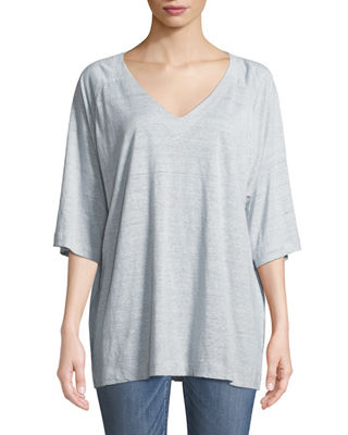 Eileen Fisher Half-Sleeve Striped Organic Linen Jersey Top,