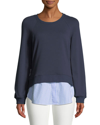 Crewneck Raglan Sweatshirt with Striped Shirt Hem