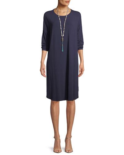 Eileen Fisher Long-Sleeve Boxy Jersey Knee-Length Dress
