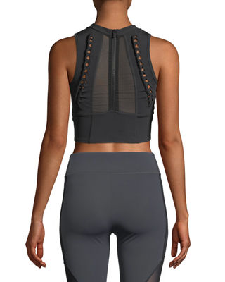 Kira High-Neck Performance Mesh Crop Top with Lace-Up Detail