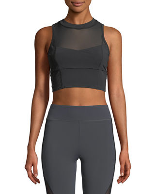 Cushnie Et Ochs Kira High-Neck Performance Mesh Crop
