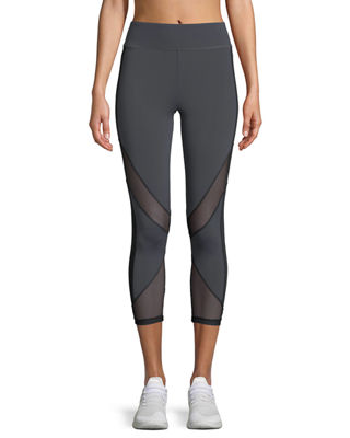 Image 1 of 2: Nuria Cropped Performance Leggings with Mesh Inserts