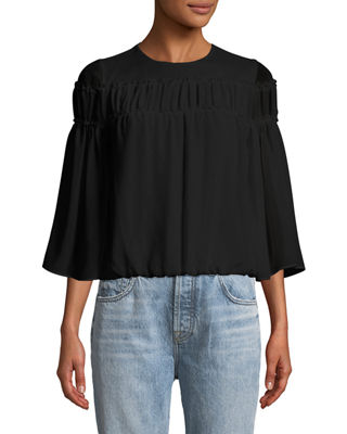 Image 1 of 2: Shannon Bell-Sleeve Top with Ruffled Trim