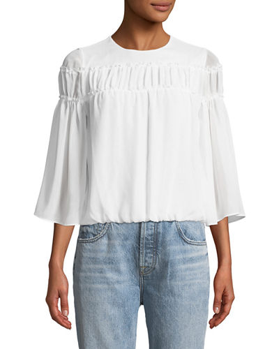 Shannon Bell-Sleeve Top with Ruffled Trim