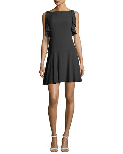 Flutter-Sleeve Summer Crepe Dress