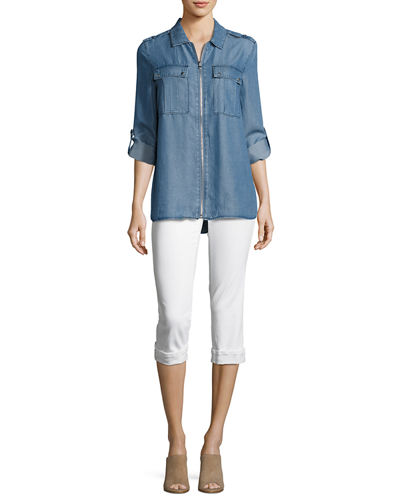 Marilyn Cropped Denim Jeans with Rolled Cuffs