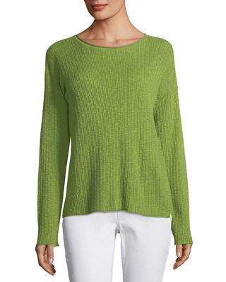 Eileen Fisher Ribbed Slub Long-Sleeve Top