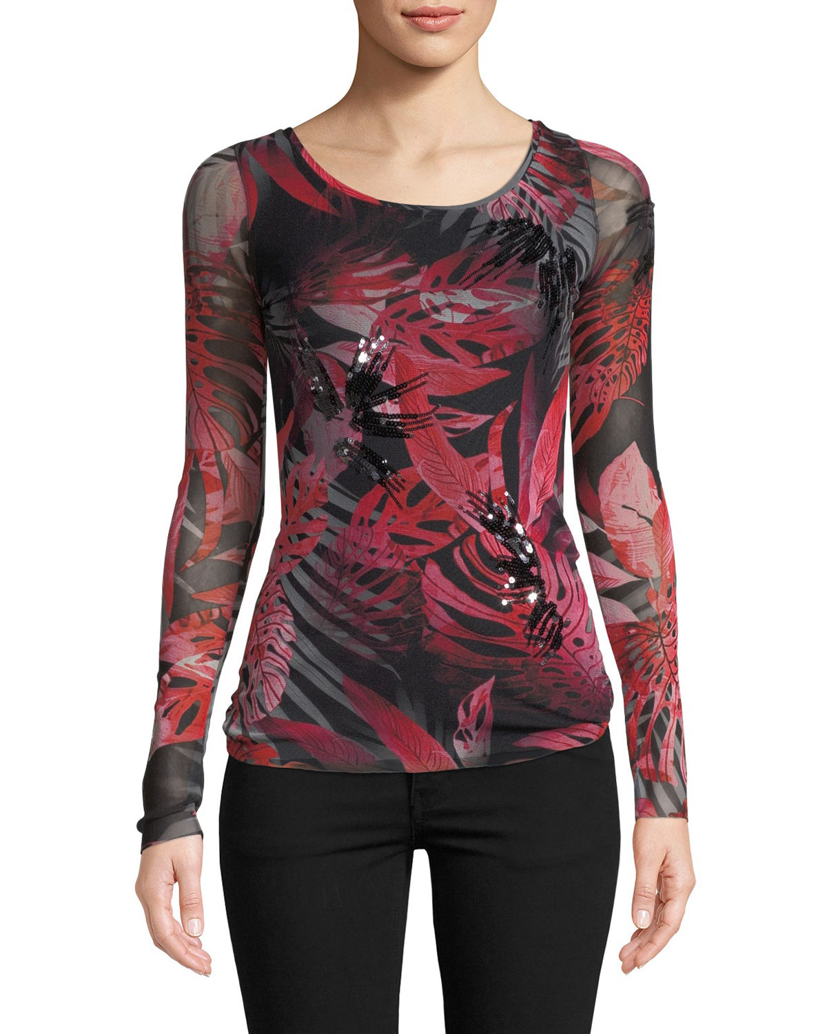 Jungle-Print Sequin Embroidered Top