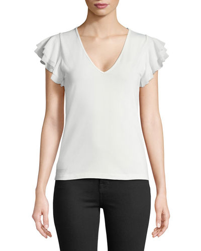 Solid Ruffle-Sleeve V-Neck Top