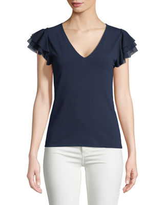 Fuzzi Solid Ruffle-Sleeve V-Neck Top