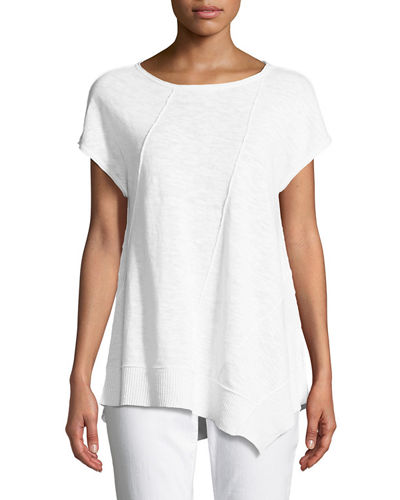 Asymmetric-Hem Linen-Cotton Top, Petite