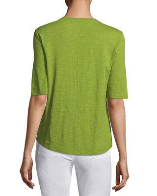 Image 2 of 2: Half-Sleeve Slubby Organic Cotton Top