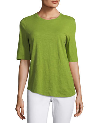 Image 1 of 2: Half-Sleeve Slubby Organic Cotton Top