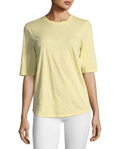 Half-Sleeve Slubby Organic Cotton Top, Petite