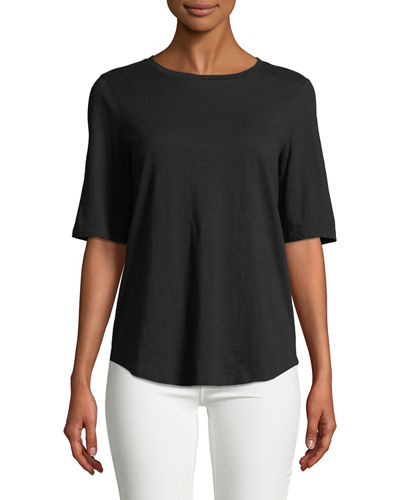 Half-Sleeve Slubby Organic Cotton Top, Plus Size