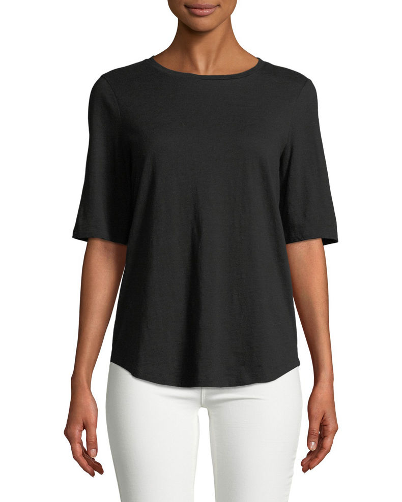 Eileen Fisher Plus Size Half-Sleeve Slubby Organic Cotton Top