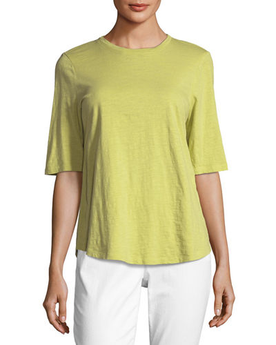 Eileen Fisher Half-Sleeve Slubby Organic Cotton Top, Plus