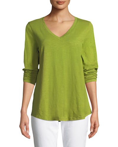 V-Neck Organic Cotton Jersey Slub Top, Petite