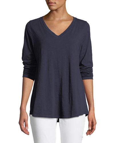 Eileen Fisher V-Neck Organic Cotton Jersey Slub Top,