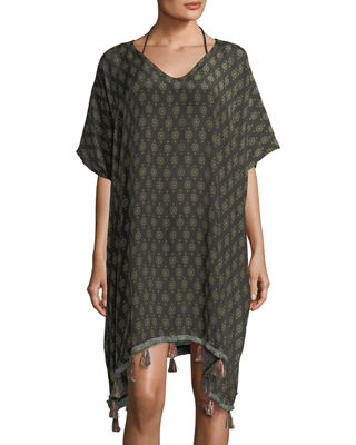 V-Neck Printed Kaftan Coverup with Tassels