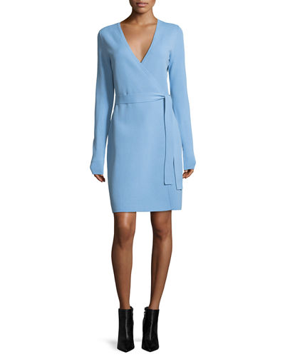 Long-Sleeve Knit Wrap Dress