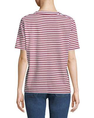 Image 2 of 2: Penny Mock-Neck Striped Cotton Tee