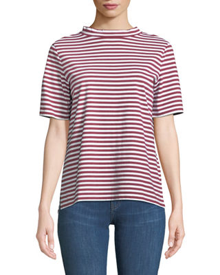 Image 1 of 2: Penny Mock-Neck Striped Cotton Tee