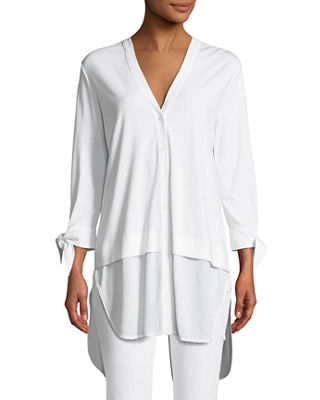 High-Low Crepe de Chine Shirting Tunic, Plus Size