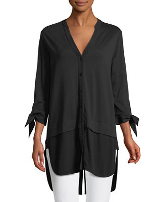 Joan Vass High-Low Poplin Shirting Tunic