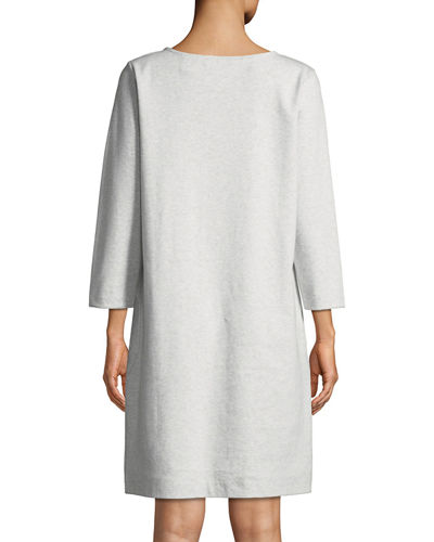 Circle-Pocket Cotton Shift Dress