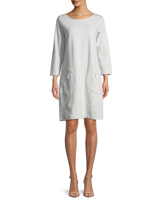 Joan Vass Circle-Pocket Cotton Shift Dress, Petite