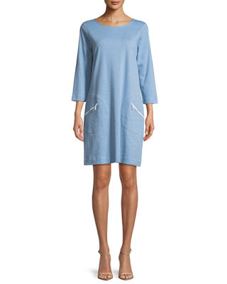 Circle-Pocket Cotton Shift Dress, Petite