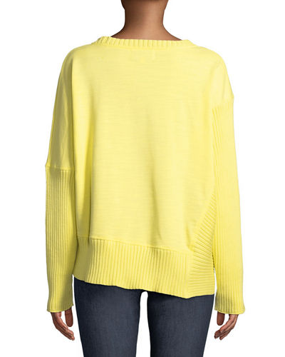 Neon Buddha Plus Size South Beach Pullover Sweater w/ Asymmetric Hem