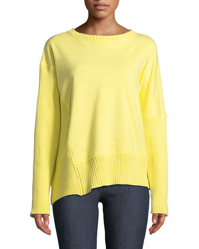 Plus Size South Beach Pullover Sweater w/ Asymmetric Hem