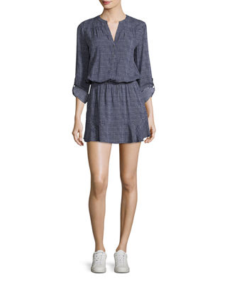 Image 1 of 4: Acey Button-Front Long-Sleeve Printed Dress