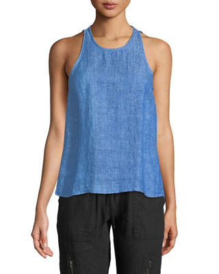 Dany Sleeveless Button-Back Linen Top