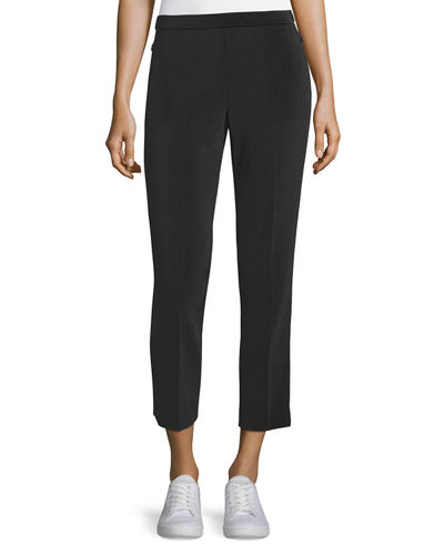 Admiral Crepe Straight-Leg Basic Pull-On Pants
