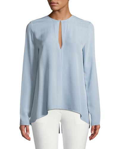 Long-Sleeve Slit-Front Silk Classic Georgette Tunic Top