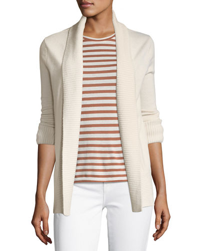 Cashmere Wide-Collar Cardigan Sweater