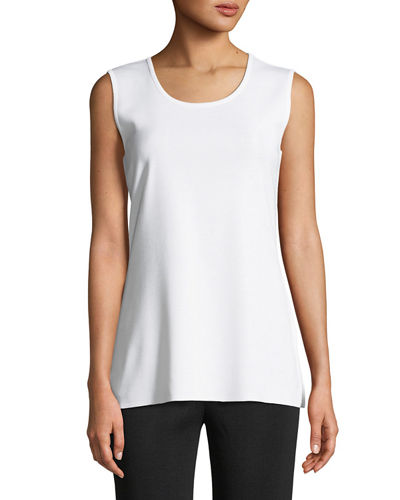 Petite Round-Neck Sleeveless Tank