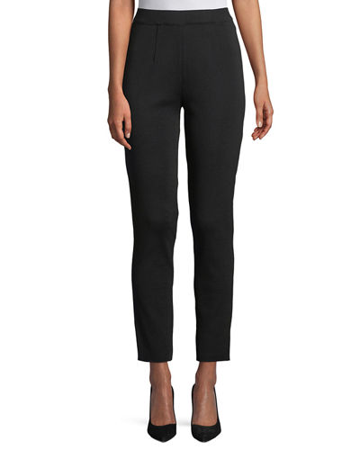 Slim-Leg Pull-on Ankle Pants, Plus Size