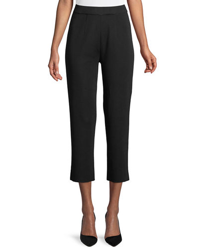 Slim-Leg Knit Ankle Pants, Petite